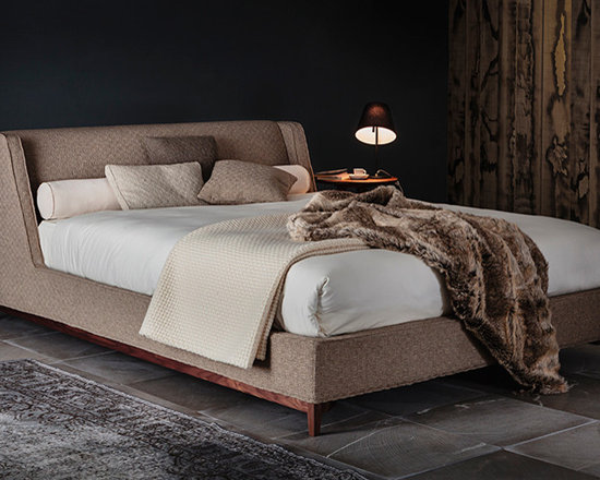 Bed 05314 - Upholstered bed with base in walnut wood or mocha stained beech wood. Available in twin, full, queen, king or California king sizes.