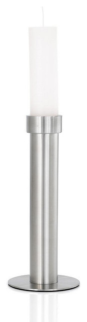 Velo Candlestick with Candle, Medium contemporary-candles-and-candleholders