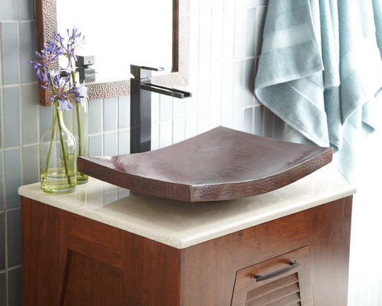 Native Trails - Kohani Antique Copper Vessel Sink by Native Trails - Re-imagine what a sink can be. Kohani's striking curvature and generous dimensions transcend the boundaries of traditional double-walled copper vessels, creating the perfect sink for your contemporary design. Available in Antique or Brushed Nickel finish. Shown with Aquabrass Streem faucet.