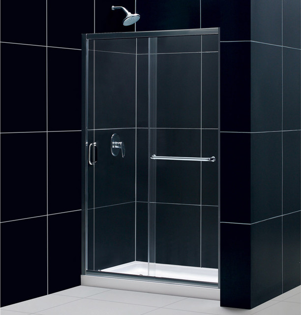 "Infinity-Z Frameless Sliding Shower Door, 36"" by 48"" Shower Base & QWALL-5 Showe contemporary-showerheads-and-body-sprays"