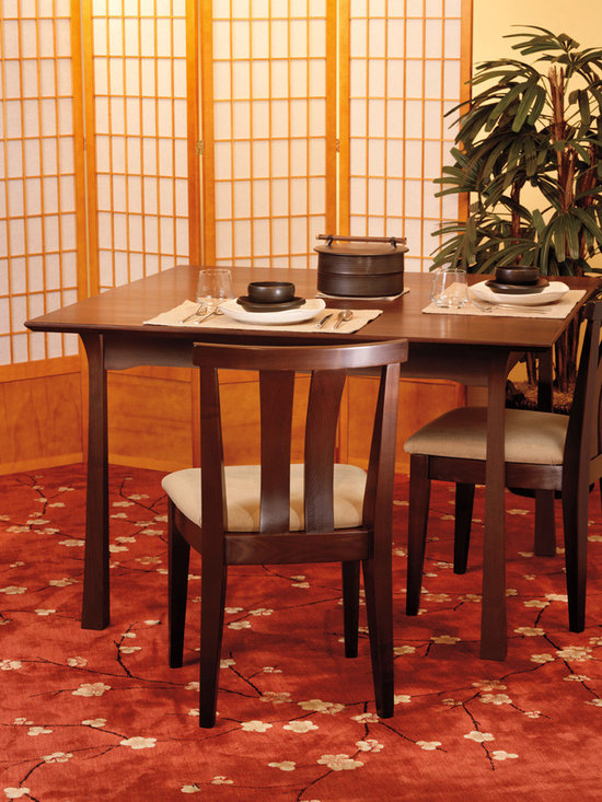 SHINTO DINING TABLE - A striking union of ancestral Japanese architecture and the Arts and Crafts movement results in the gently curving and definitive lines of the Shinto style.  This style ties the present to the past from its beautiful post and lintel references to the swooping curves influenced by the flowing gabled roofs of shrines found all over Japan's countryside.  This is a truly transitional style that would fit perfectly in any home, from traditional to contemporary.
