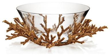 Kim Seybert Golddust Bead Coral Bowl tropical-serveware