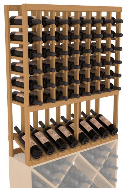 High Reveal Wine Rack Display in Pine, Oak Stain ...