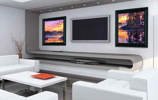 Living Room w/ Sound Art speakers - Modern - Living Room ...