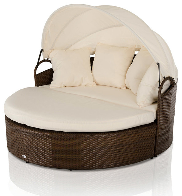 Cove Round Patio Day Bed with Retractable Sun Cover ...
