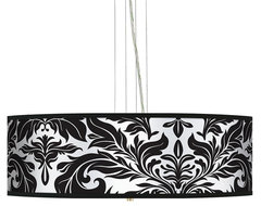 "Traditional Black Tapestry  24"" Wide 4-Light Pendant Chandelier traditional chandeliers"