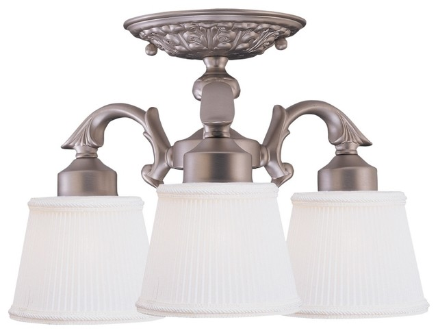 """Satin Nickel Crystorama 12"""" Wide Ceiling Light Fixture traditional-ceiling-lighting"""