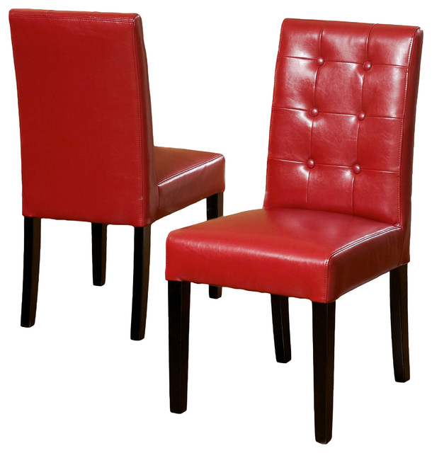 Gillian Red Leather Dining Chair (Set of 2) modern-dining-chairs