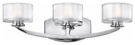 Meridian Chrome Three-Light Bath Fixture contemporary-bathroom-vanity-lighting