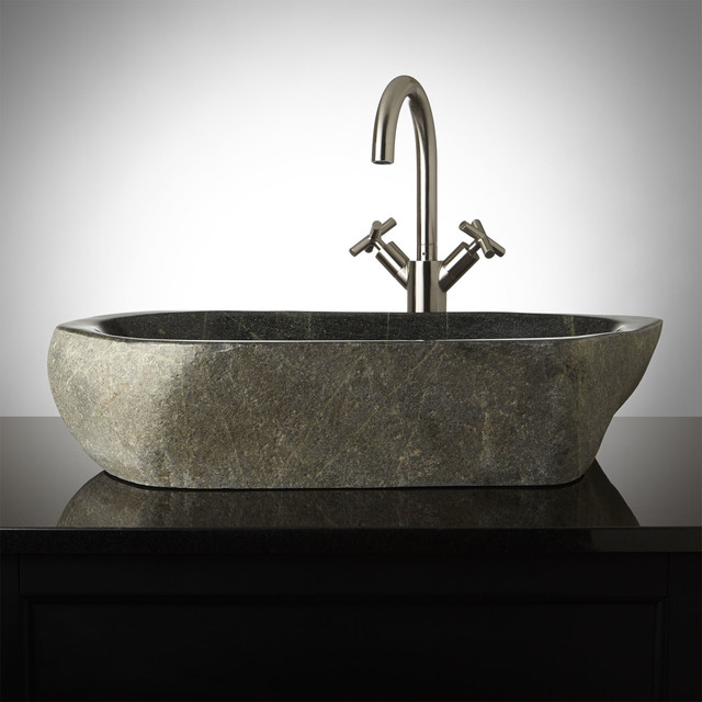 Edda natural river stone vessel sink contemporary for Natural stone bathroom sinks
