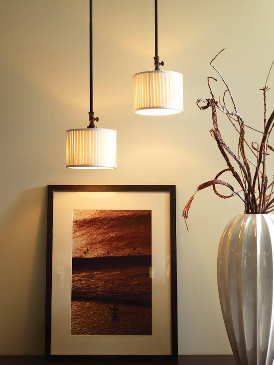 Progress Lighting Clayton One-Light Mini-Pendant - Classic vintage styling meets minimalist design. Clayton highlights a fresh look using arching arms, drum shades in a clean linen fabric and Espresso finish.
