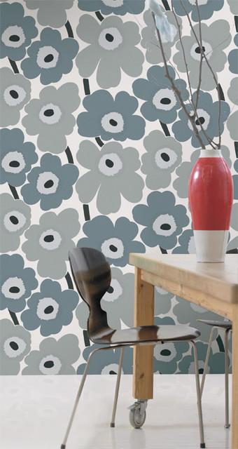 unikko gray wallpaper from marimekko modern wallpaper by textile arts. Black Bedroom Furniture Sets. Home Design Ideas