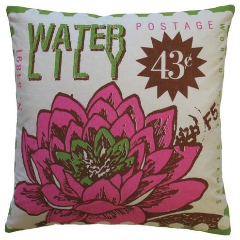 Postage Cotton Waterlily Print Pillow modern-decorative-pillows