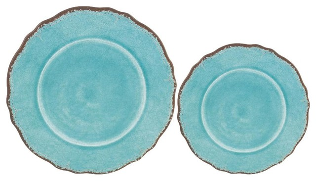 Melamine Assorted Plates, Turquoise, Set of 16 - Rustic - Dinnerware Sets - by La Maisonware