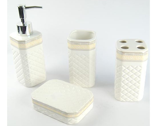 White Square Array Ceramic Bath Accessory Set - Serve as a fashionable home decoration. The luxury bathroom accessories set is the best choice for you. A look at the luxury bathroom accessories in the morning or at night will cheer you up immediately, making your mood and dream happier and sweeter.Whether enjoying a soothing bubble bath or simply getting ready for a night out, a well-appointed bathroom will be a place you'll want to linger. Bath Accessory Sets with coordinating Fabric Shower Curtains,Accessories Set,Towel ,Slippers and Shower hooks create that total bathroom look.