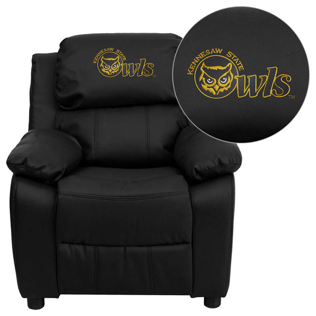 Kennesaw State University Owls Black Leather Kids Recliner with Storage Arms modern-kids-chairs