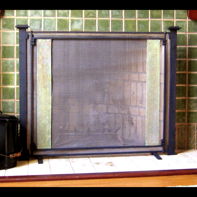 Custom Hand Forged Firescreen contemporary-fireplace-accessories