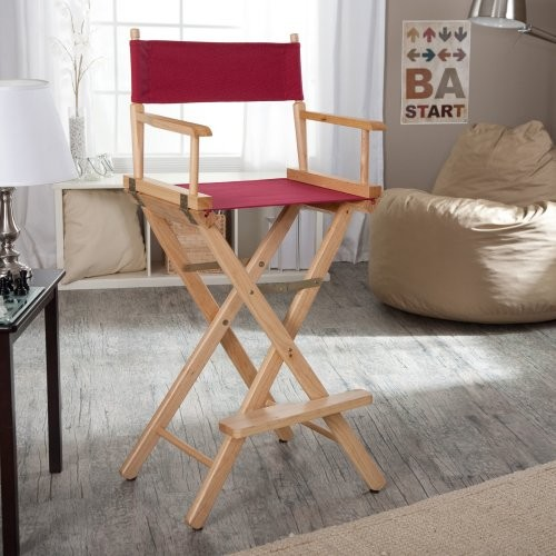 Newport 30 in. Burgundy Canvas Directors Chair - Natural Frame contemporary-chairs