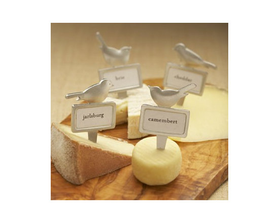 Beehive Bird Cheese Markers - Four lead free pewter Bird Cheese Markers with stainless steel tines by Beehive, make any gathering fun! This boxed set includes additional standard paper labels so you can write your own or print from your computer.