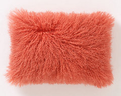 Fleece Flounce Pillow, Pink eclectic-pillows