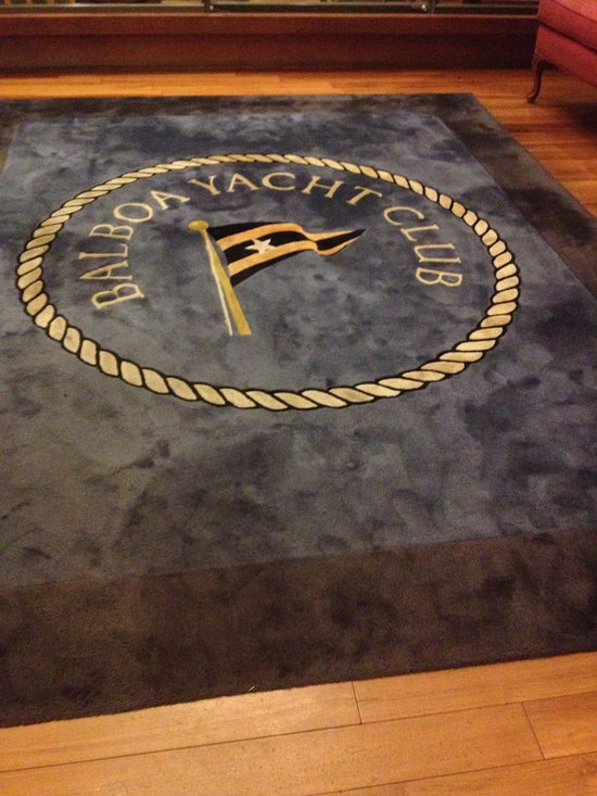 Portfolio - This rug was custom designed and fabricated by us for the Balboa Yacht Club in Newport Beach, California.  Great nautical theme rug that is in the entrance.  Made of 100% New Zealand wool.
