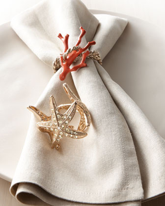 LObjet Four Starfish Napkin Rings traditional napkin rings