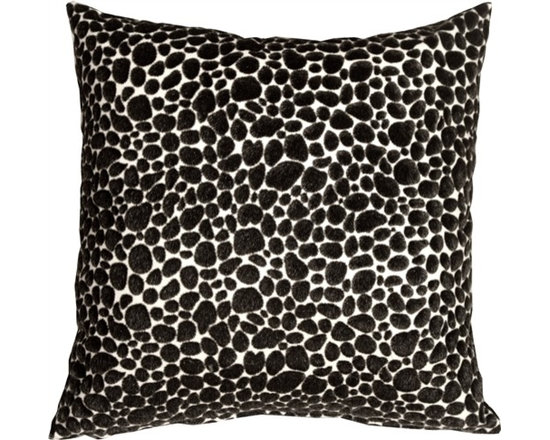 Pillow Decor - Pillow Decor - Pony Spots Black and White 16 x 16 Throw Pillow - This fun and funky 16 x 16 decorative pillow features black faux fur spots on an off-white faux leather backing. This throw pillow is a textural delight, combining the softness of velvet with the smooth buttery feel of leather. Perfect for a black and white decorating theme or as a fun toss pillow for the bed, den, or family room. Pony, Dalmatian or just a great pillow...you decide.