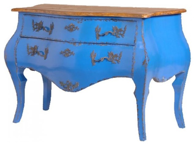 French Bombe Chest of Drawers in Deep Blue traditional dressers chests and bedroom armoires
