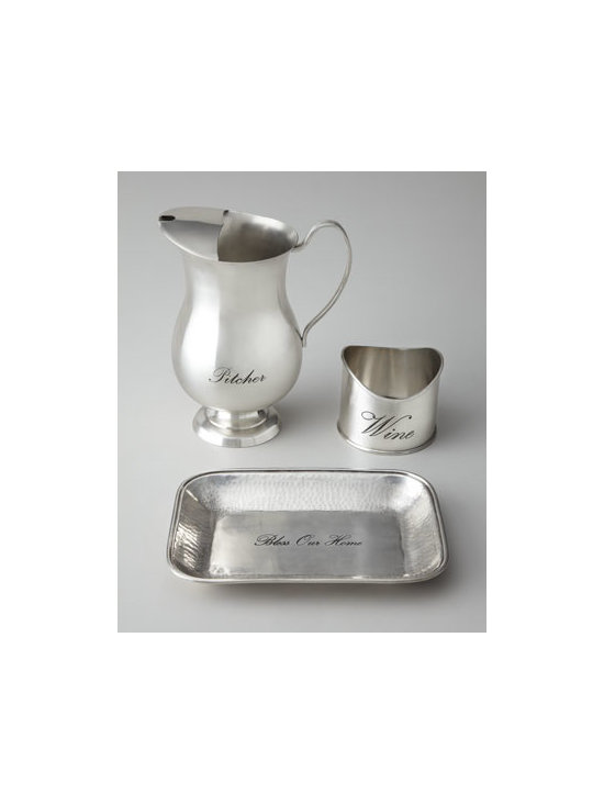 "Towle Silversmiths - Towle Silversmiths Water Pitcher - Sleek and simple, this water pitcher keeps that necessary beverage ready to serve. Made of nickel-plated brass. Hand wash. 9.5""T; holds 64 ounces. Imported."