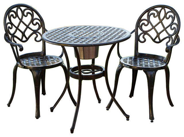 Palermo cast aluminum bistro set traditional outdoor for Metal patio table and chairs set