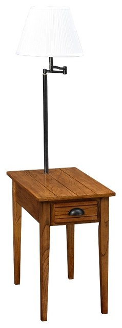 Arts and crafts mission leick swing arm floor lamp with for Leick swing arm floor lamp with wood end table