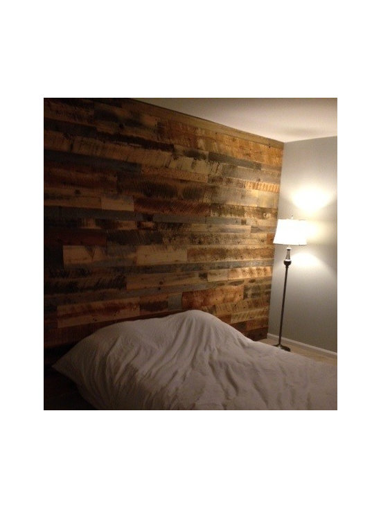 RLP flooring, paneling & door - Idaho barn wood blend from Reclaimed Lumber Products, Accent Wall Paneling