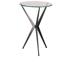 Contemporary Robert Abbey Bronze Finish Tempered Glass Side Table contemporary side tables and accent tables