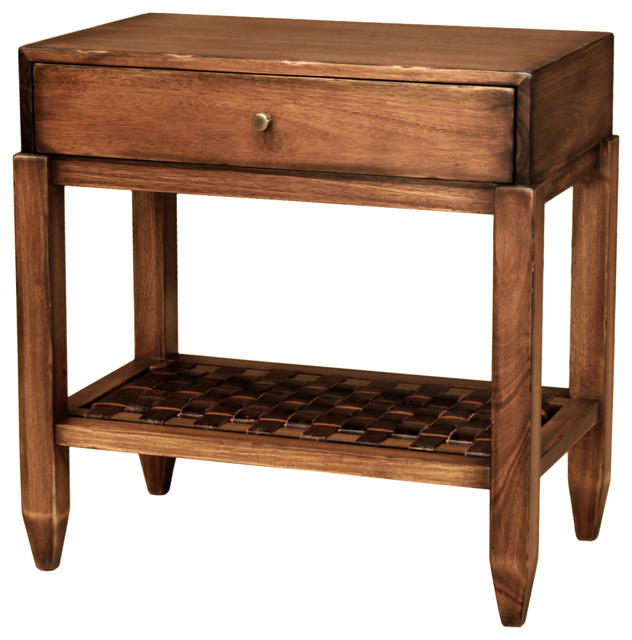 Atame Leather Woven Night Stand traditional-nightstands-and-bedside-tables