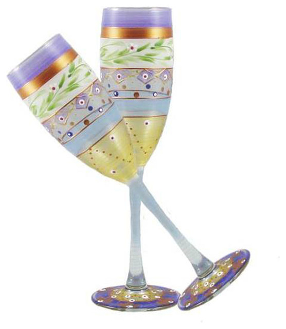 Mosaic Garland Champagne Glasses Set of 2 contemporary-wine-glasses