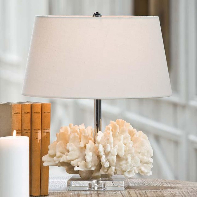 andrew white coral table lamp on crystal base traditional table lamps. Black Bedroom Furniture Sets. Home Design Ideas