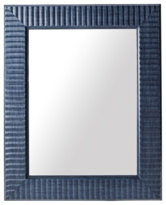 Threshold Wave Mirror, Navy Blue contemporary-mirrors