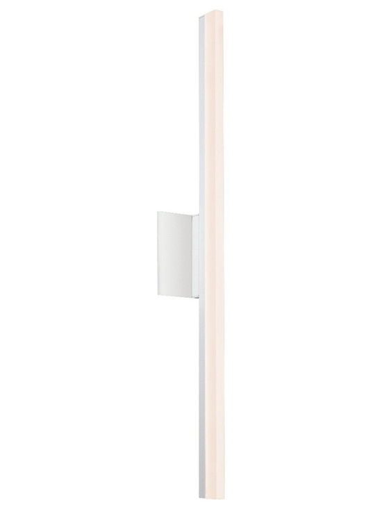 """Sonneman - Sonneman Stiletto 31 3/4"""" High Satin White LED Wall Sconce - Tall Stiletto wall sconce. By Sonneman. Satin white finish. Frosted acrylic shade. Includes three 12 watt LED. Light output is 1050 lumens. Comparable to a 75 watt incandescent bulb. 3000K color temperature. CRI is 80. ADA compliant. 31 3/4"""" high. 5"""" wide. Extends 3 1/4"""" from the wall. Backplate is 5"""" square.  Tall Stiletto wall sconce.  By Sonneman.  Satin white finish.  Frosted acrylic shade.  Includes three 12 watt LED.  Light output is 1050 lumens.  Comparable to a 75 watt incandescent bulb.  3000K color temperature.  CRI is 80.  ADA compliant.  31 3/4"""" high.  5"""" wide.  Extends 3 1/4"""" from the wall.  Backplate is 5"""" square."""