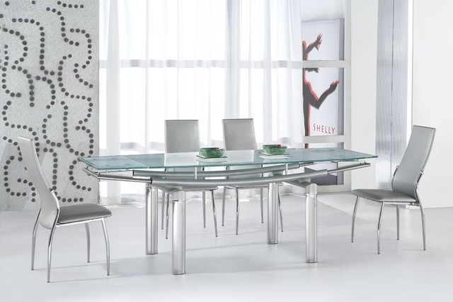 glass top leather modern dining set with leaf modern dining tables