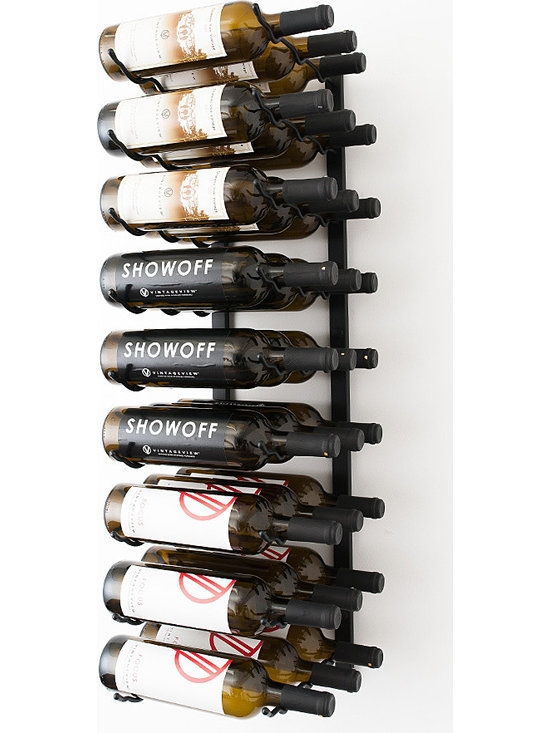VintageView® 27 Bottle Wall Mounted Wine Rack in Satin Black - Create a wall wine rack system anywhere. Decorative, reliable and flexible metal wine racks from VintageView®. Showcase your wine, not the racks. We are proud to be the best dealer of VintageView products in America, and we back our position with unsurpassed customer service.