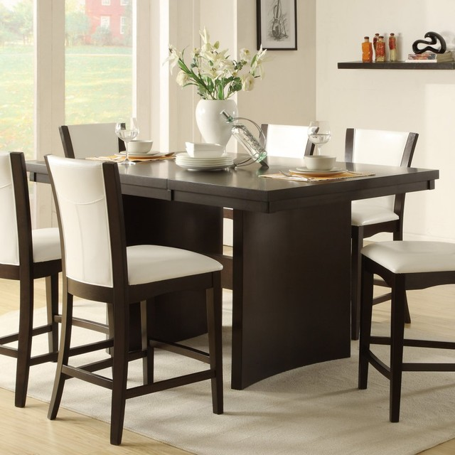 Modern High Kitchen Table modern counter high dining table medium brown finish modern