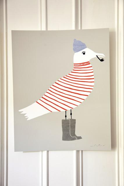 Sammy Seagull Silkscreen Print eclectic-artwork