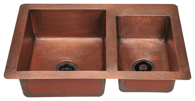 MR Direct 901 Double Bowl Copper Sink, *No Strainer* rustic-kitchen-sinks