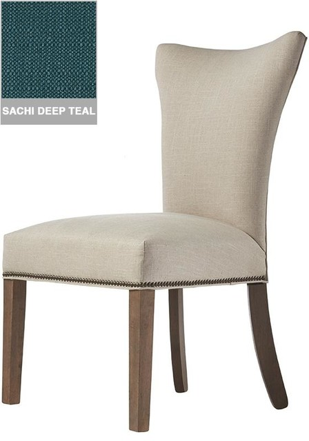 Custom Contemporary Curved Back Parsons Chair Brass Ash