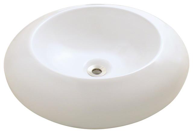 MR Direct v90 Porcelain Vessel Sink, Bisque, Chrome, No Drain modern-bathroom-sinks