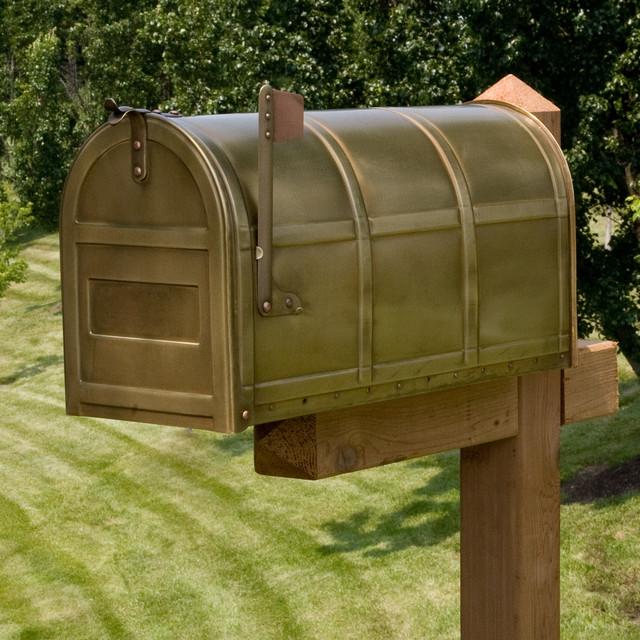 Bartlett Post Mount Brass Mailbox contemporary-mailboxes