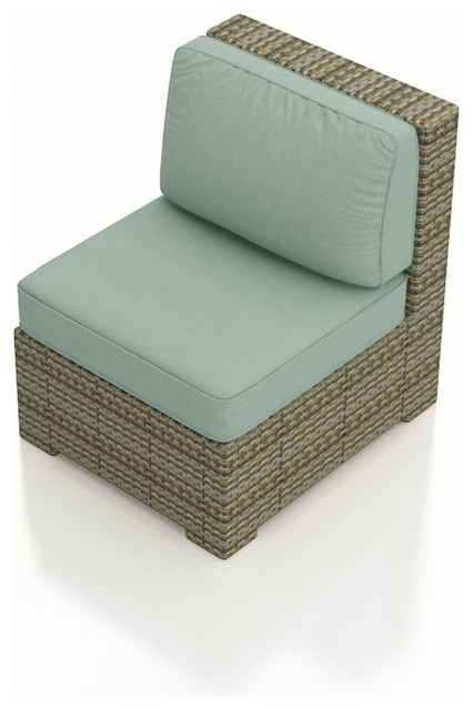 Hampton Outdoor Wicker Sectional Middle, Heather Wicker and Spa Cushions modern-outdoor-sofas