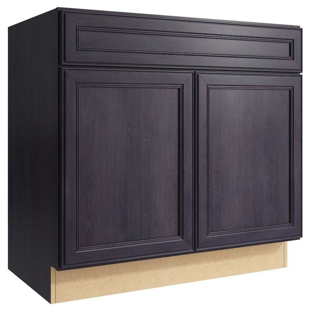 Cardell Cabinets Boden 36 in. W x 34 in. H Vanity Cabinet Only in Ebon Smoke - Contemporary ...