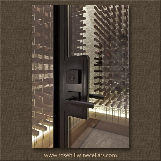 Contemporary Wine Cellar With Peg Style Racking Toronto