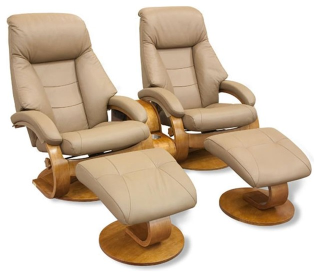 Oslo Collection Sand Tan Leather Swivel Recliner Duo W Ottoman Storage
